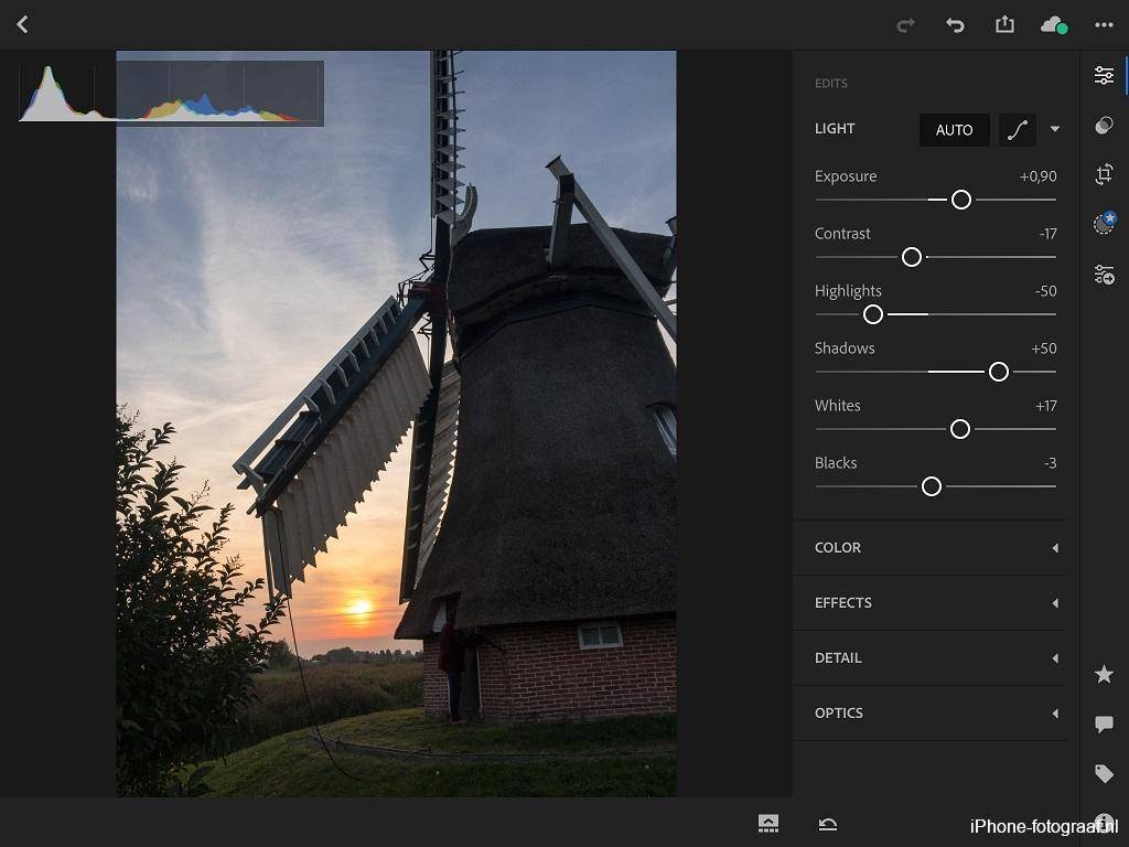 iPhone raw foto bewerkt in Lightroom