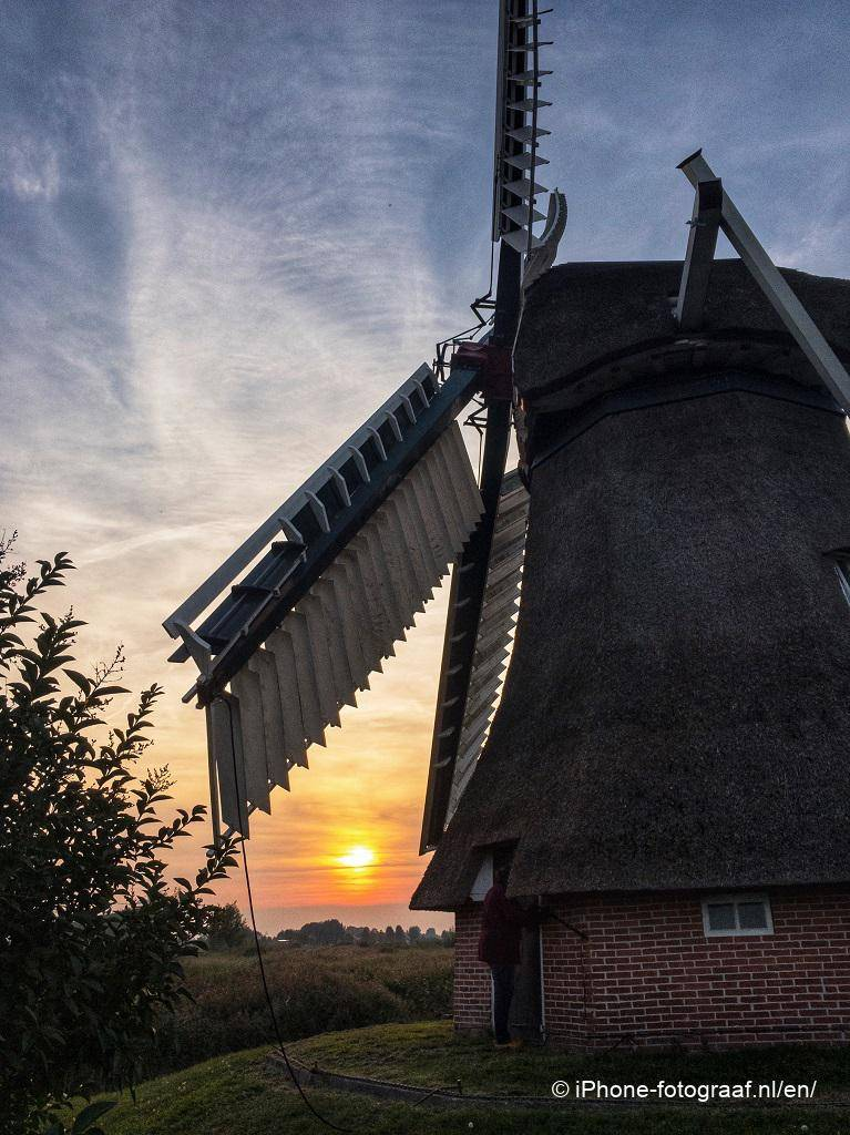 Sunset iPhone photo of a windmill