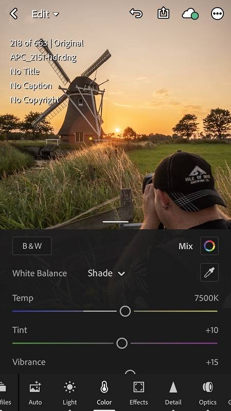 White balance iPhone in Lightroom CC