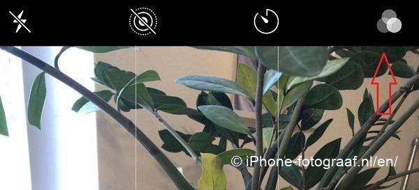 El icono de filtro de la app de la cámara del iPhone