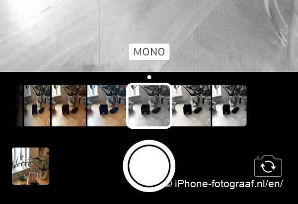 iPhone camera app filter mono. How to take a black and white photo.